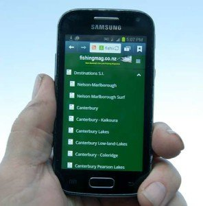 Fishingmag mobile phone menu.