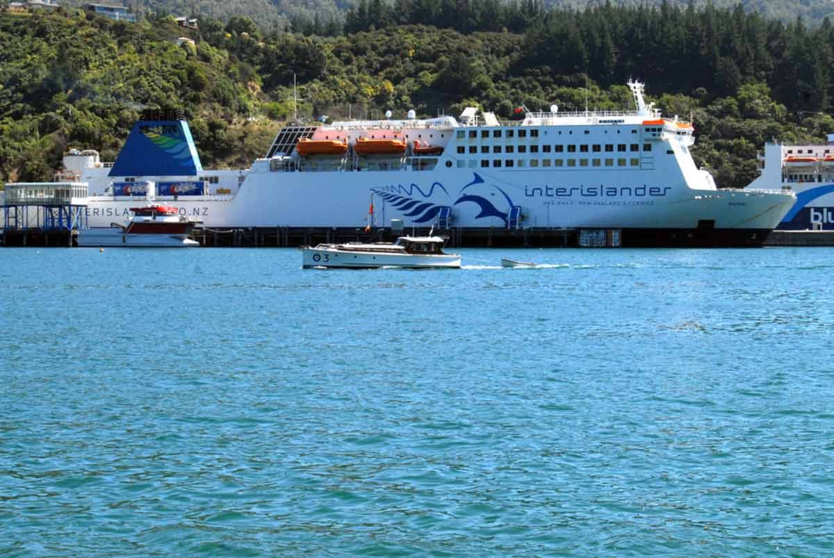 You know you are in the right place because you will be on the opposite site of the harbour to the Cook Strait Ferry Terminal. The ship is the Kaitaki.