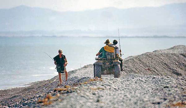 "Transport down to the mouth of the ""Rangi."" The old and the new method of getting there are shown well in this photograph. Walking over loose shingle is surprisingly exhausting especially if carrying a heavy load of fishing gear, food, drink, and warm clothing. At the mouths of the big Canterbury east coast salmon rivers a shingle spit is formed by wave action. When the river floods following heavy rain in its catchment a new ""mouth"" is often punched in the spit. For this reason the mouth proper can move back and forth by as much as five kilometers."