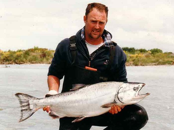 Darryl French with a solid Rangitata River salmon in top condition fresh from the sea.
