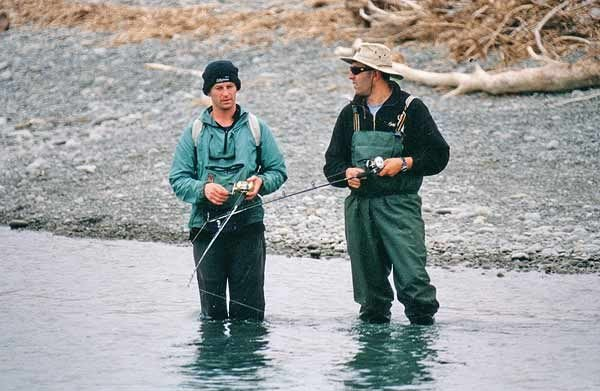 Fishing the gut for salmon on the Rangitata River.