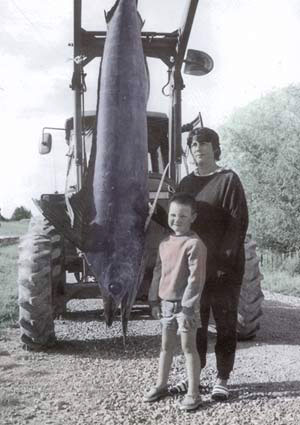 Neville's wife Janine and Bill Morris's grandson Tyler pose with Neville's first marlin. It was caught at Waikawau Beach from a 13 foot Ramco on a snapper rod.