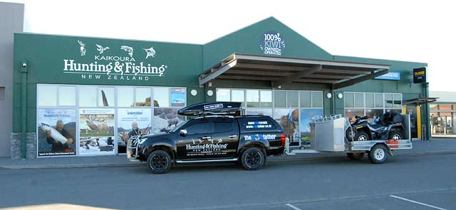 Hunting & Fishing at the northern end of the Kaikoura township, on SH1, have a huge selection of fishing tackle and knowledgeable staff.
