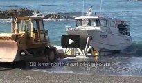 Ward Beach Crayfishing Boat Rockhopper Launched with Bulldozer, Marlborough, NZ