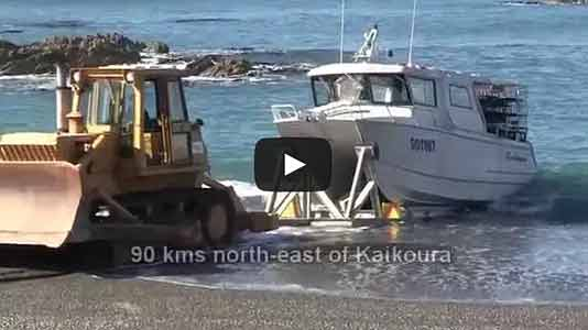 Ward Beach Crayfishing Boat Rockhopper Launched with Bulldozer, Marlborough, NZ
