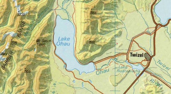 Lake Ohau Map. Sourced from LINZ. Crown Copyright Reserved