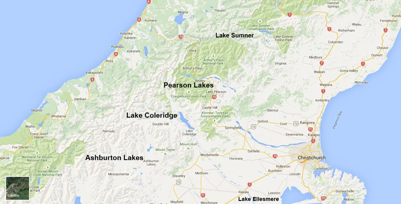North Canterbury lakes together with the Ashburton Lakes which are in the Central South Island Fish & Game Region. M
