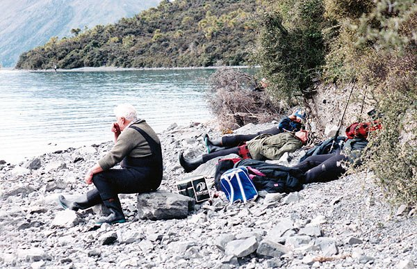 The very early start and all the excitement of Opening Weekend at Lake Coleridge takes a toll on you. These anglers can't hack the pace and are taking a mid-afternoon nap! Photograph: Allan Burgess