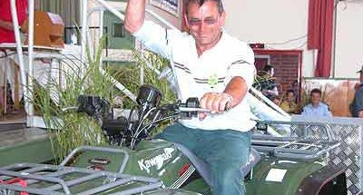 Morris Clark sits atop his prizes; a brand new Kawasaki 300cc quad bike. Rakaia Salmon Fishing Contest.