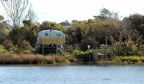 Turnbull River, South Westland, whitebaiter's caravan.