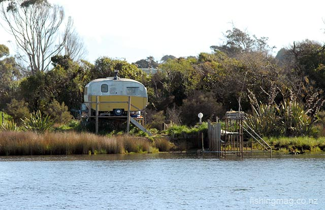 Turnbull River, South Westland, whitebaiter's caravan. There is something iconically Kiwi in this scene taken just inside the rivermouth lagoon.
