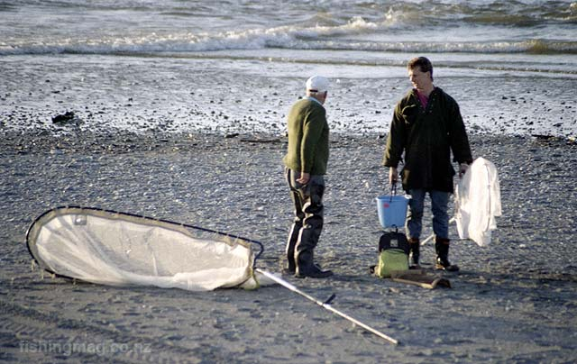 Whitebait pole net. Hokitika River mouth.