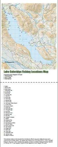 Lake Coleridge Fishing Locations Map.