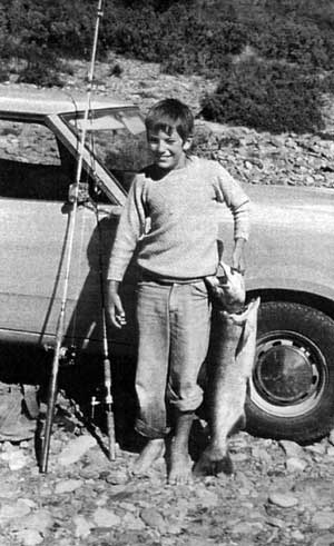 Wayne with a salmon he landed at the Rakaia Gorge in March 1976.