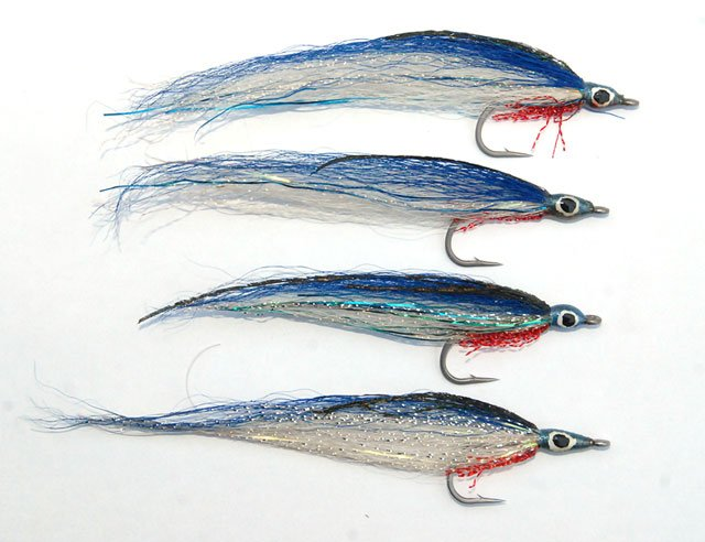 Blue Deceiver Saltwater Flies x4. Kahawai fishing.