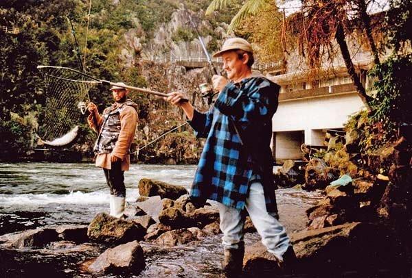 Darren Adam and Jason Farrow fishing below the Waipapa Dam, on the waikato River.