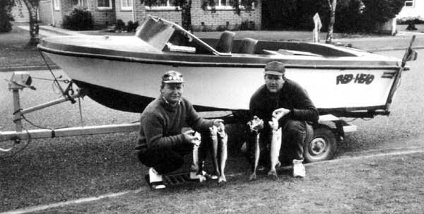 The author (left) together with Peter Woodham, display their fine catch of salmon taken at Lake Coleridge on opening day 1992.