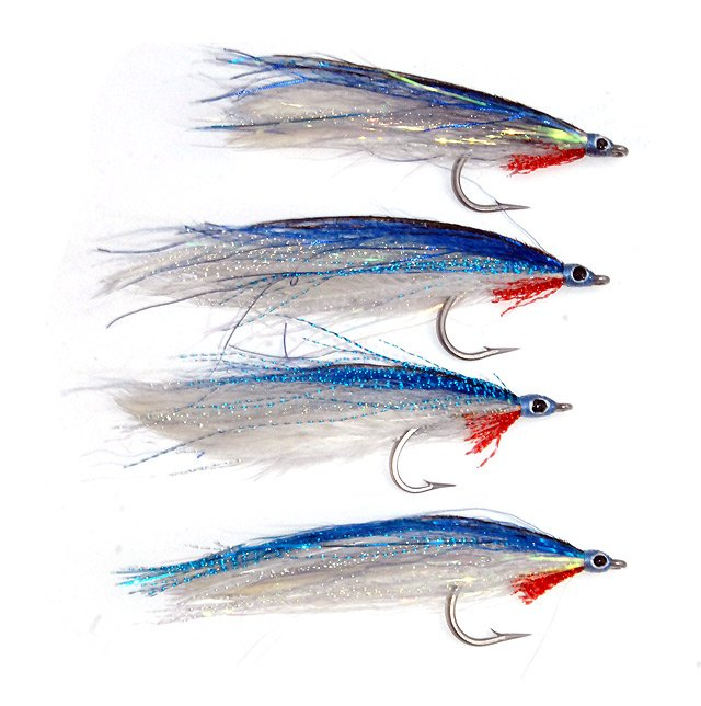 Blue deceiver saltwater flies.