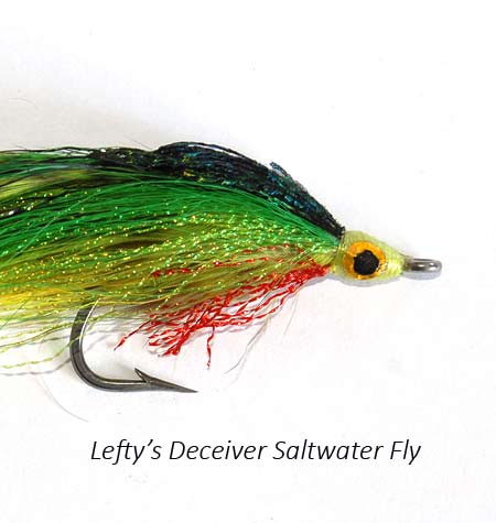 Lefty Kreh Deceiver saltwater fly - Lefty's Deceiver green version size 2/0 well dressed to swim near the surface.