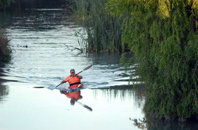 Kayak in the Opawa River. This is a good way of accessing the river. Opawa River trout fishing.