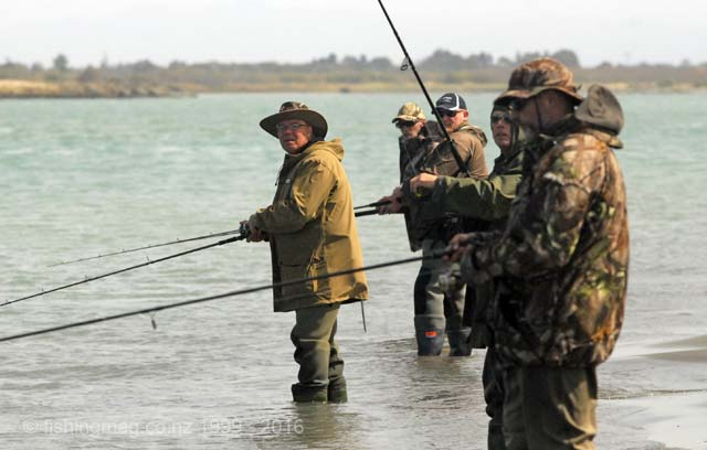 Anglers fishing on the north side of the Waimakariri River mouth during the recent competition, 12 March 2016. Most report that the south side has fished much better than the north this season. Salmon Fishing in the Lower Waimakariri River Video.
