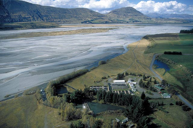 View of the Glenariffe Salmon Research Station looking downstream along the shingle braids of the Upper Rakaia River.