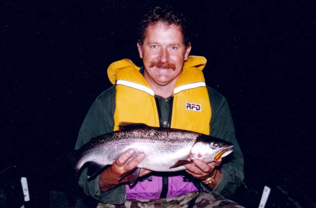 A good sized rainbow trout taken from Canterbury's Lake Selfe with the aid of a Scotty Down-rigger while rowing a Porta Bote. Even five or six meters of extra depth with a down-rigger can make a big difference to your catch rate.