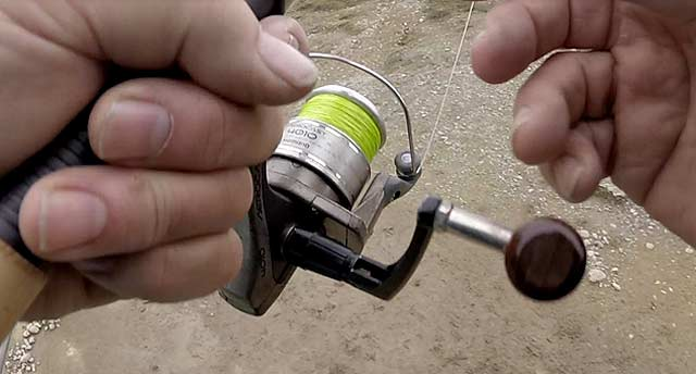 Shimano Aerocast 4010 loaded with a spool of 20 lb test neon lime coloured Sufix 832 which is the equivalent of 6 lb monofilament line. Backing will be required to build up the center of the spool for most reels. Load to within 2mm of the spool lip.
