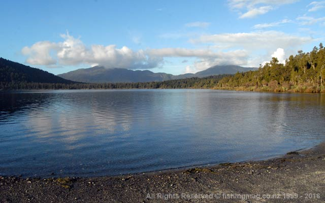 Lake Paringa, South Westland. View from Department of Conservation campsite. Photograph Allan Burgess.