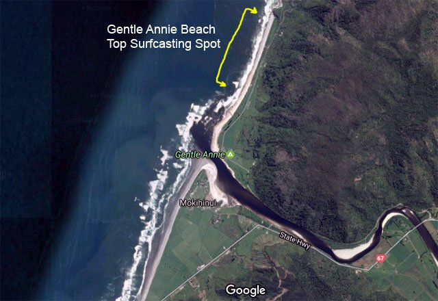 Gentle Annie Beach is a top surfcasting spot on the South Island's West Coast situated 42 km by road north of West Port. Gentle Annie is on the north side of the river mouth and is a steeply shelving shingle beach. Notice how the breakers are crashing right on the beach on the north-side of the mouth but on the south-side they are much further out. Map courtesy of Google Earth, DigitalGlobe, CNES / Airbus, TerraMetrics, Data SIO, NOAA, US Navy, NGA, GEBCO,.