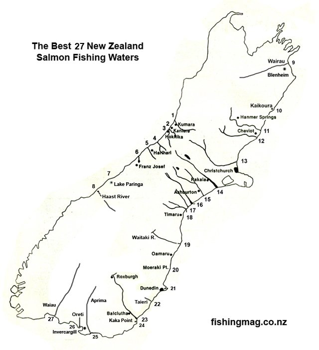 The Best 27 New Zealand Salmon Fishing Waters map.
