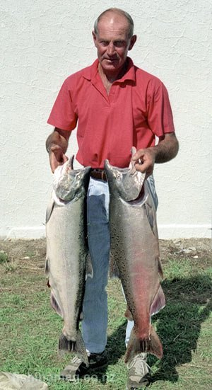 A brace of big salmon from the Waitaki River. The best salmon fishing rivers New Zealand map.