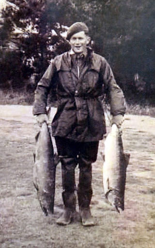 The author after a morning fishing above Rakaia in the 1950s.