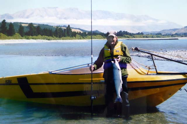 Clive fishing just below Rakaia Gorge in 2015. Mt Hutt in the distance.