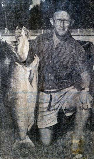 J. Wing with a 40lb salmon caught from the Rakaia River back in 1970. Salmon Fishing Memories.