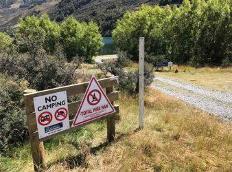 Lake Sefle No Camping sign.