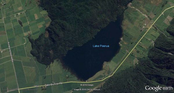 Lake Poerua. There is a launching ramp at the southern end of the lake where it meets the Lake Brunner Road. Click map to enlarge. Map courtesy of Google Maps/CNES/Astrium.