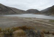 Lake Lyndon. Lack of rain has seen the lake level drop significantly. Featured image. High country lakes and tarns. Photograph Allan Burgess.