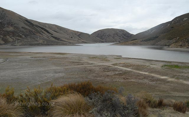 Lake Lyndon. Lack of rain has seen the lake level drop significantly. High country lakes and tarns. Photograph Allan Burgess.
