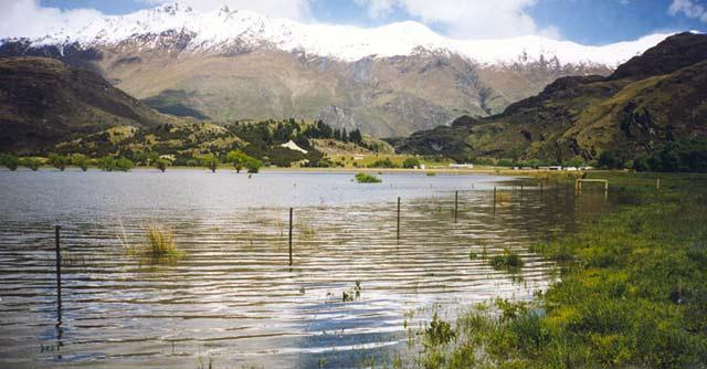 Flood water at Paddock Bay, Lake Wanaka, Otago.