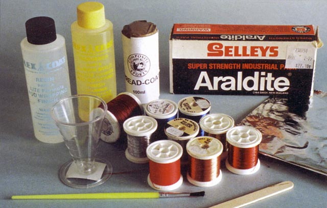 Rod epoxy, colour fixer, thread, an accurate means of measuring out equal parts of epoxy.