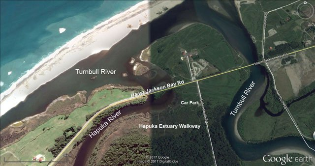 Hapuka Estuary Walkway. Map courtesy of Google Earth.