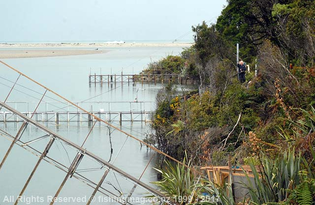 Registered whitebait stands on the Okuru River.