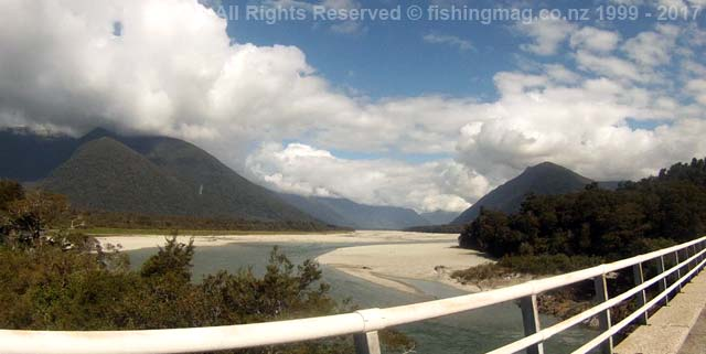 Arawhata River looking upstream from the bridge on the Haast-Jackson Bay Road.