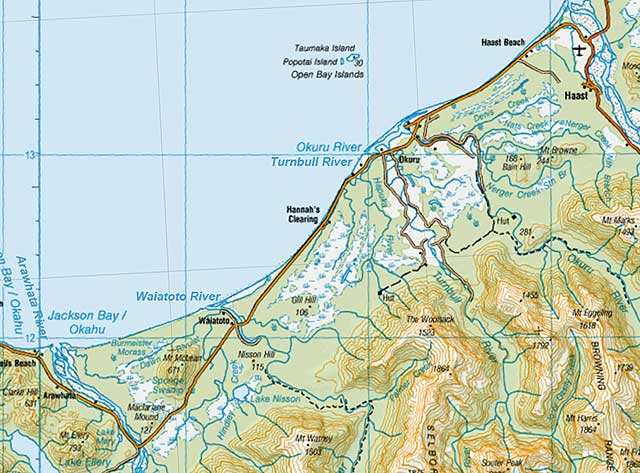 You can see from the map that the Arawhata River is wide and braided in its lower reaches very similar to the Haast River. Map sourced from LINZ crown copyright reserved.