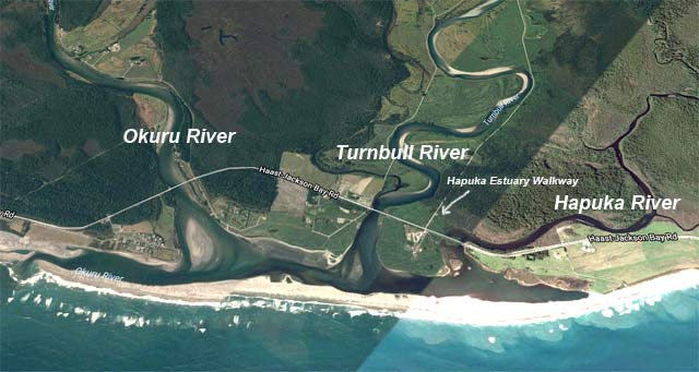 The Okuru, Turnbull and Hapuka Rivers all empty into the same coastal lagoon. The position of the mouth changes when there is a big flood. Note the Hapuka Estuary Walkway featured in another article. Imagery courtesy of Terrametrics, DigitalGlobe, Google Earth 2017.