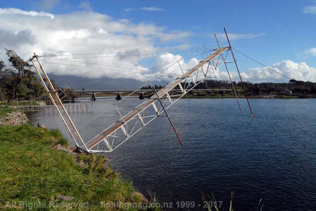 Registered whitebait stand on the Turnbull River, South Westland. Lifted from the river in case of a flood. Whitebaiting Arawhata Waiatoto Turnbull Okuru Rivers.