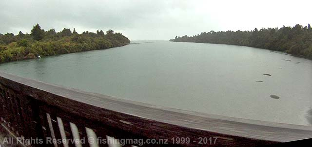 Waiatoto River looking downstream from the bridge on the Haast-Jackson Bay Road. The sea is about 900 metres from this point.
