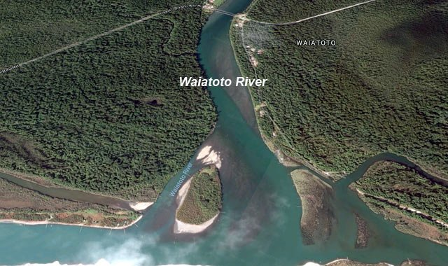 The Waiatoto River mouth and lagoon. The Haast-Jackson Bay Road is approximately 2km from the sea. Note the whitebait stands many of which can only be reached by boat. Imagery courtesy of Terrametrics, DigitalGlobe, Google Earth 2017.
