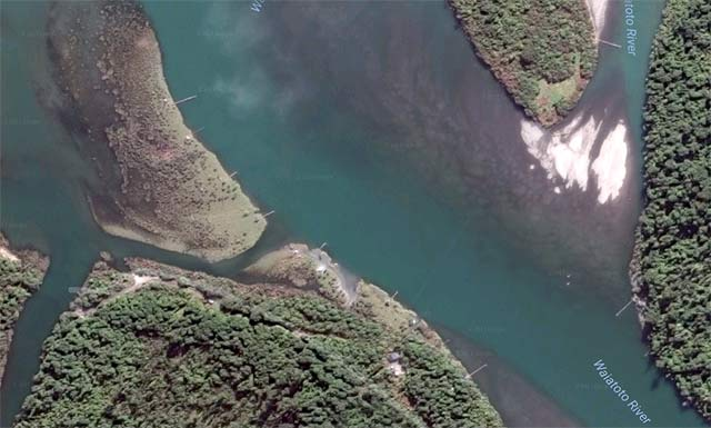 View of the Waiatoto River near the tidal lagoon. You can make out the registered commercial whitebait stands in the picture. Imagery courtesy of Terrametrics, DigitalGlobe, Google Earth 2017.